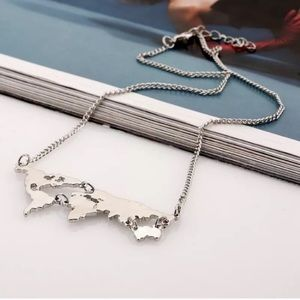 World Map Silver Chain Necklace